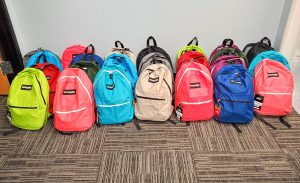 Backpacks ready for local charities