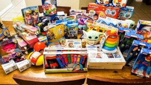 Desk full of toys for local charities