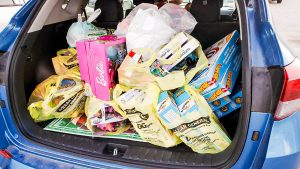 car full of gifts for local charities
